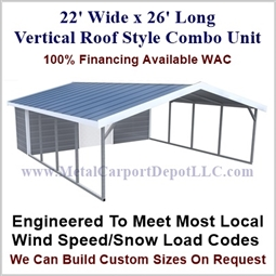 Carport With Storage Vertical Roof Style Metal Combo Unit 22' x 26' x 6'