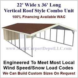 Carport With Storage Vertical Roof Style Metal Combo Unit 22' x 36' x 6'