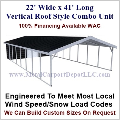 22 X 41 Vertical Roof Style Metal Combo Unit 6 655 00