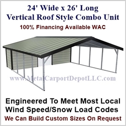 Carport With Storage Vertical Roof Style Metal Combo Unit 24' x 26' x 6'