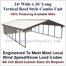 Carport With Storage Vertical Roof Style Metal Combo Unit 24' x 36' x 6'