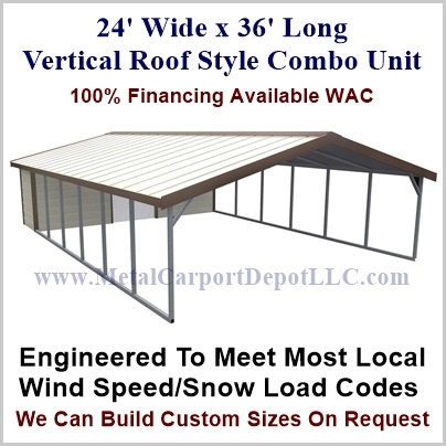 24 X 36 Vertical Roof Style Metal Combo Unit 6 355 00