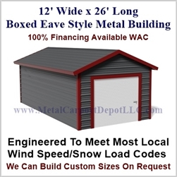 Metal Buildings Boxed Eave Style 12' x 26' x 8'