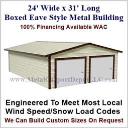 Metal Buildings Boxed Eave Style 24' x 31' x 8'