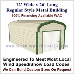 Metal Buildings Regular Style Metal 12' x 26' x 7'