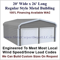 Metal Buildings Regular Style Metal 20' x 26' x 7'