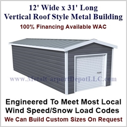 Metal Buildings Boxed Eave Style 12' x 31' x 8'