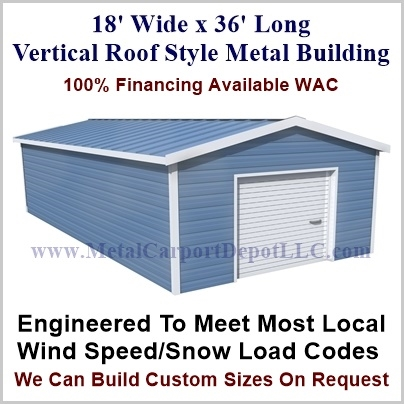 18' x 36' Vertical Roof Style Building