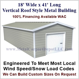 Metal Buildings Boxed Eave Style 18' x 41' x 8'