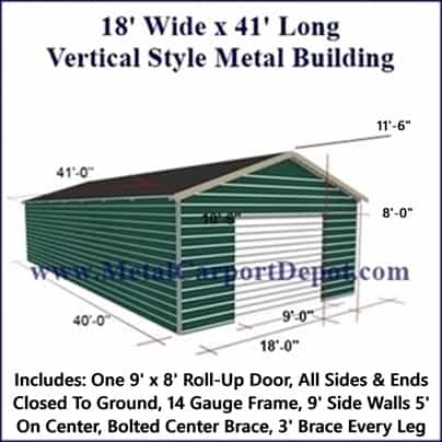 18' x 41' Vertical Roof Style Metal Building