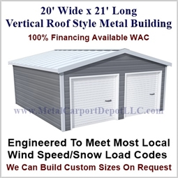 Enclosed Garage Boxed Eave Style Metal 20' x 21' x 9'