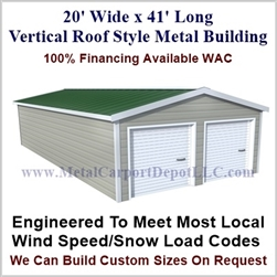 Metal Buildings Boxed Eave Style 20' x 41' x 8'