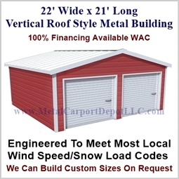 Metal Buildings Boxed Eave Style 22' x 21' x 8'