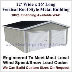 Metal Buildings Boxed Eave Style 22' x 26' x 8'
