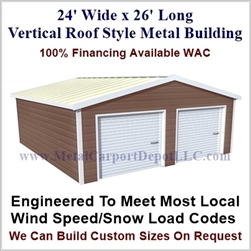 Metal Buildings Boxed Eave Style 24' x 26' x 8'