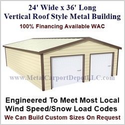Metal Buildings Boxed Eave Style 24' x 36' x 8'