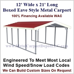 Boxed Eave Style Metal Carport 12' x 21' x 6'