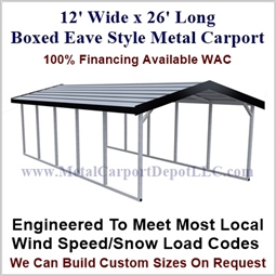 Boxed Eave Style Metal Carport 12' x 26' x 6'