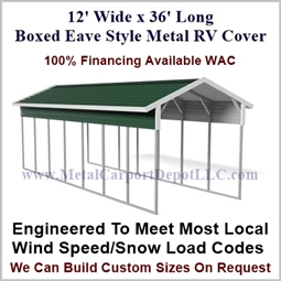 12' x 36' Boxed Eave Style Metal RV Cover