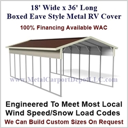 18' x 36' Boxed Eave Style Metal RV Cover
