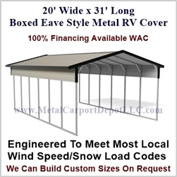 20' x 31' Boxed Eave Style Metal RV Cover