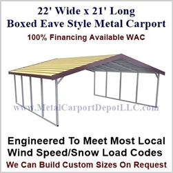 Boxed Eave Style Metal Carport 22' x 21' x 6'