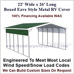 22' x 26' Boxed Eave Style Metal RV Cover