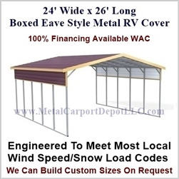 24' x 26' Boxed Eave Style Metal RV Cover