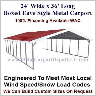24 X 36 A Frame Metal Carport Boxed Eave Roof Metal Carport Depot