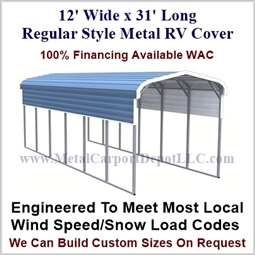 12' x 31' Regular Style Metal RV Cover