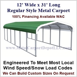 Eagle 12' x 31' Metal Carport