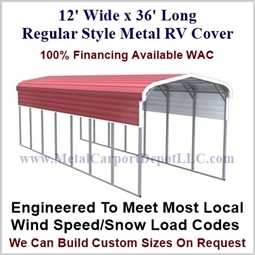 12' x 36' Regular Style Metal RV Cover