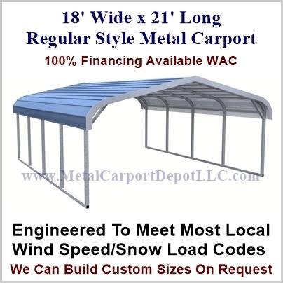 18' x 21' Regular Style Carport