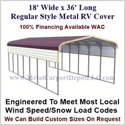 18' x 36' Regular Style Metal RV Cover