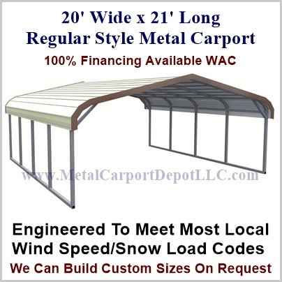20' x 21' Regular Style Carport