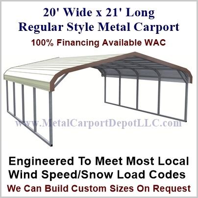 20' x 21' Metal Carport (Regular Style Roof) Sale Price ...