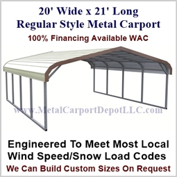 Regular Style Metal Carport 20' x 21' x 5'