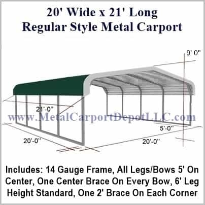 20 X 21 Metal Carport Regular Roof Barn Style Metal Carport Depot