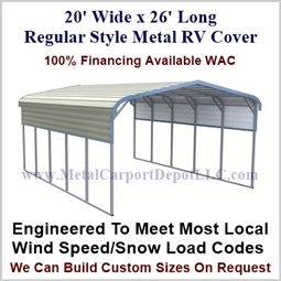 20' x 26' Regular Style Metal RV Cover