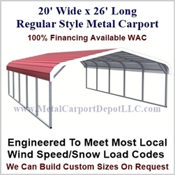 Regular Style Metal Carport 20' x 26' x 5'