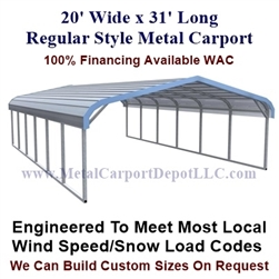 Regular Style Metal Carport 20' x 31' x 5'
