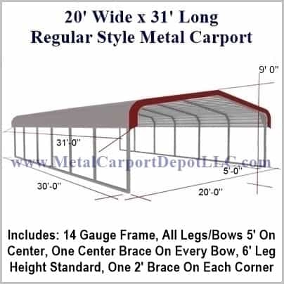 20 X 31 Metal Carport Regular Roof Barn Style Metal Carport Depot