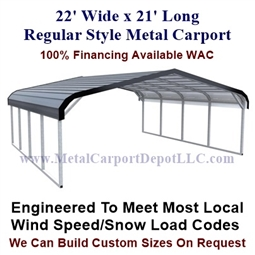 Regular Style Metal Carport 22' x 21' x 5'