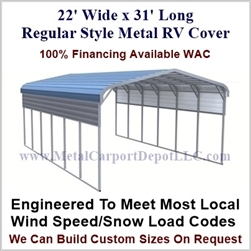 22' x 31' Regular Style Metal RV Cover