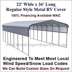 22' x 36' Regular Style Metal RV Cover
