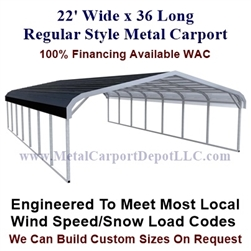 Regular Style Metal Carport 22' x 36' x 5'