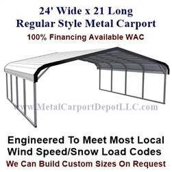 Regular Style Metal Carport 24' x 21' x 5'