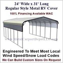 24' x 31' Regular Style Metal RV Cover
