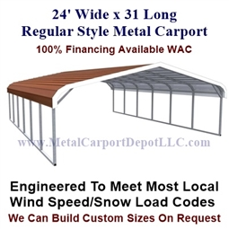 Regular Style Metal Carport 24' x 31' x 5'