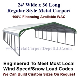 Regular Style Metal Carport 24' x 36' x 5'